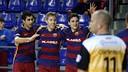 Gabriel, Bateria and Dyego celebrating against Peníscola / MIGUEL RUIZ-FCB