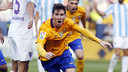 Leo Messi celebrates his game-winning goal in the 51st minute on Saturday afternoon at La Rosaleda in Málaga, Spain. / MIGUEL RUIZ - FCB