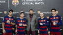 Suárez, Messi, Iniesta and Bartra shows their new Maurice Lacroix watches / FCB