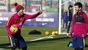 Neymar i Messi, en l'entrenament matinal