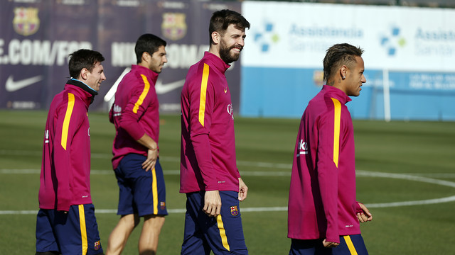 Messi, Suárez, Piqué and Neymar Jr train at the Ciutat Esportiva / MIGUEL RUIZ - FCB
