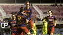 El filial celebra el gol de Chamorro contra el Llevant B / VICTOR SALGADO - FCB