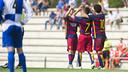 Carbonell, Aleñá and Pérez have all made their Barça B debuts this season / ARXIU FCB