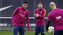 Neymar, Mascherano y Messi, en el entrenamiento de esta mañana / MIGUEL RUIZ - FCB