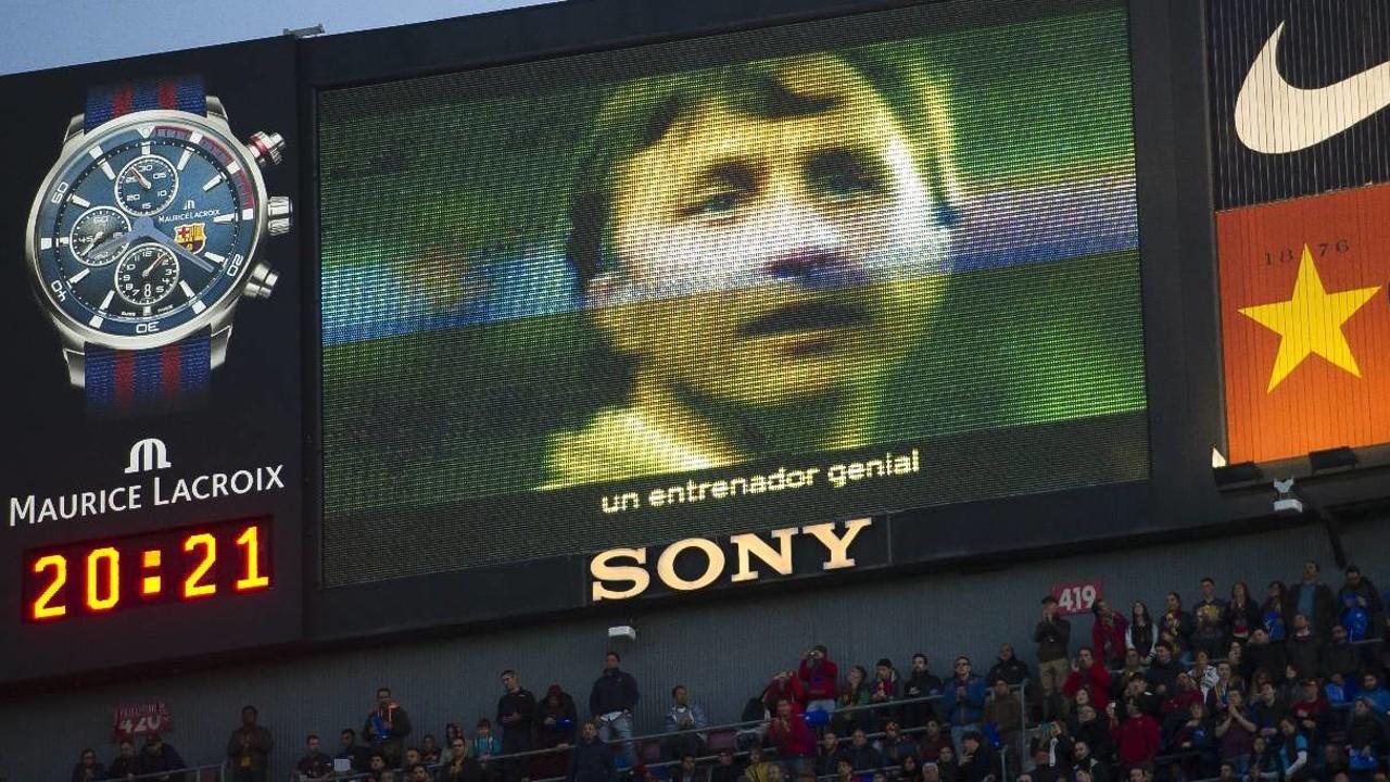 O vídeo 'Gràcies Johan' exibido no Camp Nou foi o de maior destaque no mês de abril / VICTOR SALGADO - FCB