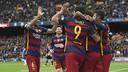 エスパニョールに決めた5得点を祝う選手達/ VÍCTOR SALGADO - FCB