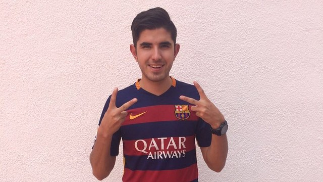 Miguel Cabrera, the winner of the VIP trip to see Barça play in the Copa del Rey final. / FCB
