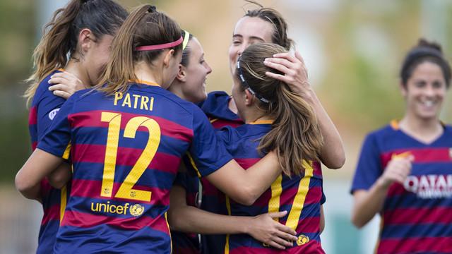 Las jugadoras azulgranas celebran uno de los goles contra el Santa Teresa / LFP