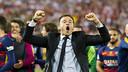 Luis Enrique, euphorique après la victoire en finale de la Coupe du Roi ! / Photo de Miguel Ruiz