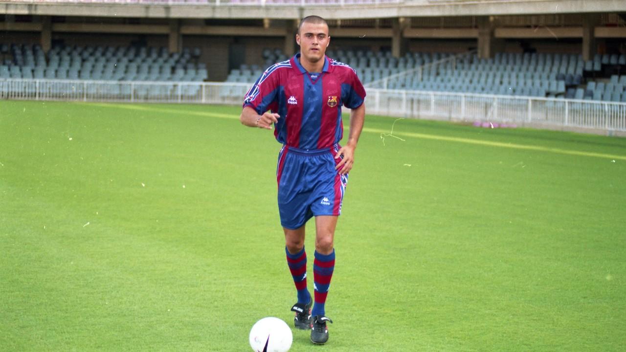 Luis Enrique, el dia de su presentación oficial como jugador del FC Barcelona / ARCHIVO FCB